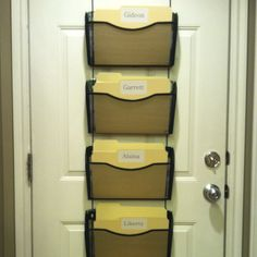 Organize kids school papers, homework, etc. Easy for them to reach.
