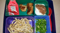 Kid Bento Lunch -Bell and Evans GF chicken nuggets w/ ketchup -cottage cheese and apple sauce -rice noodles w/ teriyaki sauce -edemame