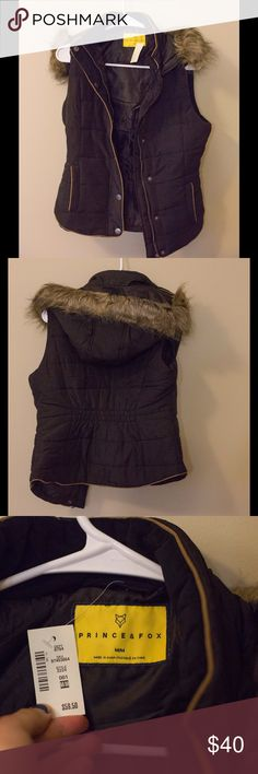 Prince & Fox vest NWT Prince and fox vest with fur lined hood, new with tags. Purchased from Aeropostale. Faux fur, 100% polyester. Buttons and zippers on the front, black color prince & Fox Jackets & Coats Vests