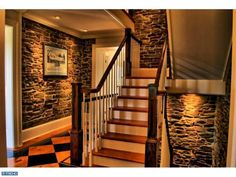 interior stone accents with moulding
