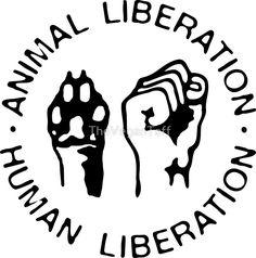 Animal Liberation, Human Liberation - black by TheVeganTaff