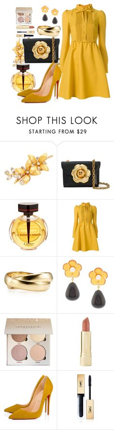 """""""Sun"""" by st-edmundcollege ❤ liked on Polyvore featuring Jennifer Behr, Oscar de la Renta, Cartier, Valentino, Lizzie Fortunato, Axiology, Christian Louboutin and Yves Saint Laurent"""