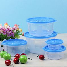 5pcs/set Meal Prep Food Containers with Lids, Reusable Microwavable Plastic Container Round Square Food >  Storage Boxes Bins