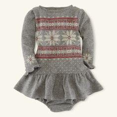 Snowflake Ruffle-Trim Dress - Layette Dresses & Rompers - RalphLauren.com