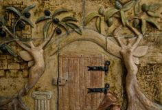 almond tree and olive tree ferries by Sevo, ceramic art, ceramic mural, clay, ceramics.
