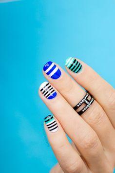 Beautiful striping nail art. How-to: http://sonailicious.com/mbfwa-nails-2-alexander-wang-nail-art/
