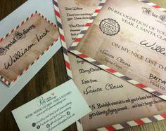 Personalised Letter from Santa & Nice List Certificate - custom digital file - print at home - personalised christmas DIY - vintage style