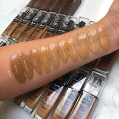 Nyx Can't stop won't stop foundation swatches Full Coverage Matte Foundation, Nyx Foundation, Makeup Swatches, Drugstore Makeup, Nyx Cosmetics, Natural Glowy Makeup, Makeup Essentials, Professional Makeup, How To Introduce Yourself