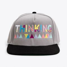 Thinking Cap ($38) ❤ liked on Polyvore featuring accessories, hats, snap back hats, cap snapback, snapback cap, snap back caps and caps hats