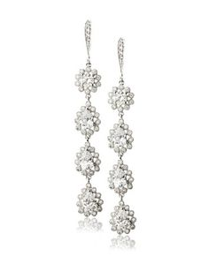 66% OFF CZ by Kenneth Jay Lane Pave Border CZ Dangle Earring, Clear