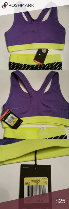 NEW Nike Pro Classic Sports Bra Medium-support sports bra Dri-FIT fabric to wick sweat away and help keep you dry and comfortable Dual-layer construction with an underbust band for a compression fit and lightweight support Racerback for wide range of motion Flat seams to help reduce irritation caused by chafing For medium-impact sports like cycling, dance and cardio classes Care Instructions: Machine wash Fabric: Dri-FIT 88% polyester / 12% spandex Style# 717425 523 BRAND NEW WITH TAGS Nike…