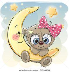 Cute Cartoon Teddy Bear girl on the moon