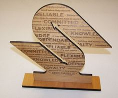 Offering Custom Wood Signs laser engraved any size for great prices! Cherry, Walnut, Maple, Alder Wood, red wood and more species. Award Display, Custom Wood Signs, Laser Engraving, Bookends, Awards, Unique, Award Certificates, Book Holders