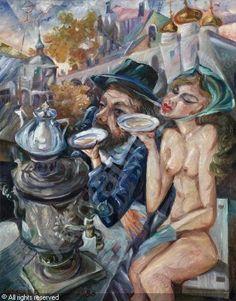 KALININ Vyacheslav Vasilevich - Drinking Tea with a Nude