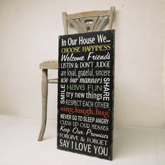 Black Version Family Rules Wood Sign Wall Art In Our House We Choose Happiness, Use Our Manners, Say I Love You