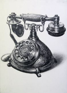 A telephone by on deviantart telephone drawing, pencil shading, pencil art, charcoal Still Life Sketch, Still Life Drawing, House Drawing, Lady Drawing, Pencil Art Drawings, Realistic Drawings, Art Drawings Sketches, Gravure Illustration, Bild Tattoos