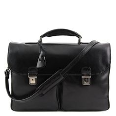 Portfölj Tuscany Leather Pienza Leather briefcase with two front pockets via Trendissimo. Click on the image to see more!