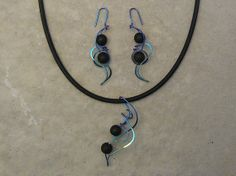 Designer pendant on cord, designer drop earrings, anodized niobium, sterling, gold filled CHOICE of SEMI-PRECIOUS Beads
