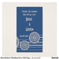 Blue Modern Wedding Favor Gift Tags Thank You Modern Wedding Favors, Blue Wedding Invitations, Party Favor Tags, Gift Tags, Special Day, Things To Come, Bride, Prints, Cards