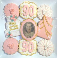 90th Birthday Cookies.  Elegant Birthday Cookies.  Homemade decorated shortbread cookies.