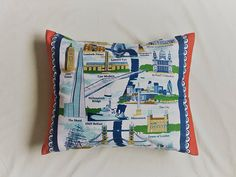 The Sights of London Town Tea Towel Souvenir Cushion