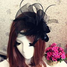 Vintage Bridal Veils Black Net Cage Hat Veils With Handmade Flowers Feather Veils for Women Formal Party Cocktail Hair Accessories J1028 Online with $10.48/Piece on Caradress's Store | DHgate.com