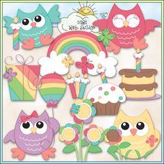 Rainbow Owls 1 - NE Trina Clark Clip Art : Digi Web Studio, Clip Art, Printable Crafts & Digital Scrapbooking!