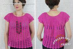 Aprenda como fazer uma blusa de crochê começando de cima para baixo! - Duração 30 Min.