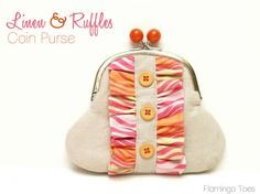 Linen and Ruffles Coin Purse Sewing Tutorial by Flamingo Toes + How to Make Ruffles Without Pulling Threads - Easy!