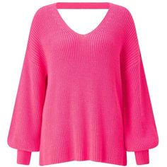 Miss Selfridge Pink Twist Back Balloon Sleeve Knitted Jumper (3.635 RUB) ❤ liked on Polyvore featuring tops, sweaters, pink, pink v neck sweater, long sleeve tops, balloon sleeve top, pink top and acrylic v neck sweater