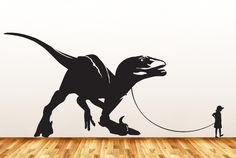 """Dinosaur Pet - Child with Velociraptor - Wall Vinyl Decal Sticker - ©YYDC (36""""w x 17""""h) (Variations Available)"""