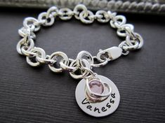 Personalized Charm Bracelets with Your Children's Name - Forever in my Heart - Custom Hand Stamped Birthstone Bracelet