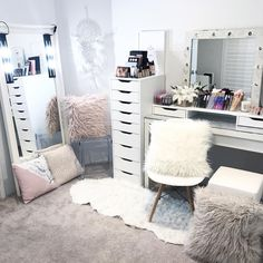 Whole body mirror, acrylic chair, barnes doily chair, malm dressing table, My New Room, My Room, Girls Bedroom, Bedroom Decor, Bedrooms, Bedroom Ideas, Bedroom Table, Malm Dressing Table, Ikea Dressing Room