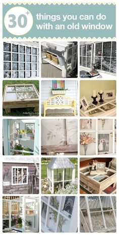 I just can't drive by old windows that people discard on the curb. DIY:: Old Window Projects (What To Do With Coconut Butter) Repurposed Furniture, Diy Furniture, Repurposed Shutters, Furniture Design, Antique Furniture, Modern Furniture, Diy Projects To Try, Home Projects, Old Window Projects