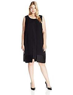 6c290ecb60f80 Amazon.com: S.L. Fashions Women's Plus-Size Satin Trim Split Front Tunic  Dress: Clothing