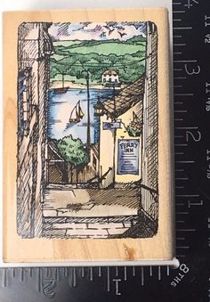 FERRY INN VIEW M056 Etchling Stampendous Rubber Stamp Ocean Boat Scenery #769 #Stampendous