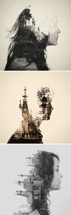 Artist: Dan Mountford The first and third are cliche but the second is an interesting concept to me, double exposure portraits seem like a really cool idea Double Exposure Photography, Art Photography, Popular Photography, Draw Realistic, Photocollage, Wow Art, Design Graphique, Gcse Art, Grafik Design