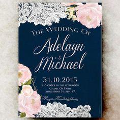 Navy blue blush pink Wedding Invitation printable, country wedding, floral wedding, watercolor wedding invitation  Printable Invitation: To