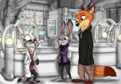 """A commission drawn for Tarienn as an illustration for the upcoming chapter of his fanfiction """"Contrasts"""", that you can read here : www. Nick Wilde, Nick And Judy Comic, Disney Films, Disney Characters, Zootopia Fanart, Zootopia Nick And Judy, Judy Hopps, Space Cat, Fursuit"""