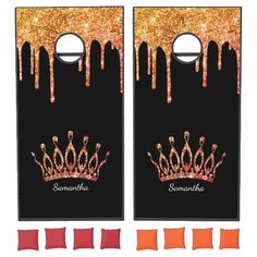 Let the games begin! Enjoy this elegant design featuring your name and monogram or initial with a chic and sparkly bright orange and red glitter crown and drips over a black background.