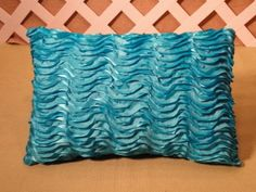 Turquoise Blue Accent Pillow with Layered Silky Ribbon Ruffles | JRsPillowsandBags - Housewares on ArtFire #AFPOUNCE