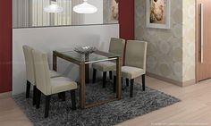 Conjunto para Sala de Jantar com Mesa com tampo de vidro e 4 Cadeiras Carvalho/Preto/Suede Bege - Cimol   Lojas KD