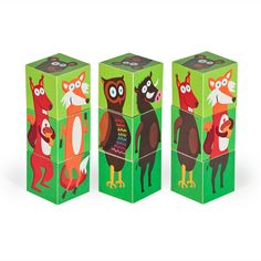 FOREST Animals Blocks  Printable PDF Toy  DIY Craft Kit by pukaca