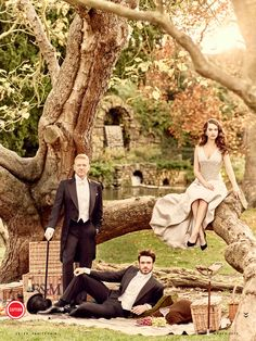 Lily James, Richard Madden, and Kenneth Branagh for Vanity Fair (March, 2015).