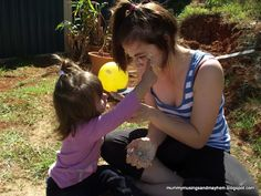 Messy Play Facials! Lots of messy sensory family fun outdoors!