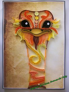 Ostrich Wall Art Bird Original quilled decor Unique Gift