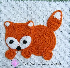 """Fox Applique by Teri Heathcote on Ravelry ~ finished size 9"""" x 8"""" (23 x 20 cm) ~ PURCHASED pattern ($2 USD) - CROCHET"""