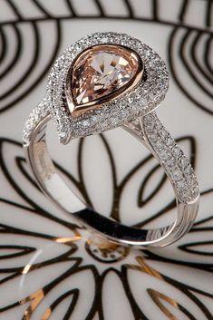 24 Unique Engagement Rings That Wow ❤️ unique engagement rings pear cut halo pave band ❤️ See more: http://www.weddingforward.com/unique-engagement-rings/ #weddingforward #wedding #bride #engagementrings #uniqueengagementrings