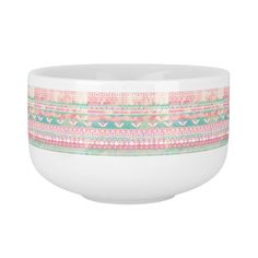 Watercolor Turquoise Pink Girly Abstract Aztec Soup Mug