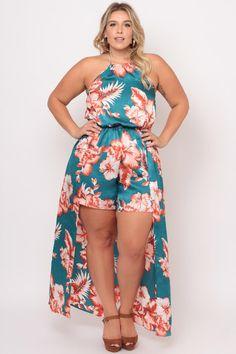 Plus Size Satin Floral Tail Romper Dress - Teal/Sienna